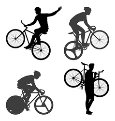 Cyclists man and fixed gear bicycle vector