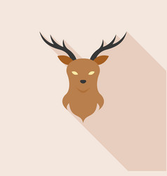 Deer head on wall icon with long shadow vector