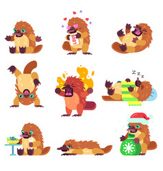 Emotional platypus character set vector