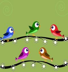 Five birds green vector image