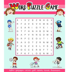 Game template for word puzzle with many sports vector