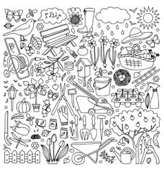 Garden doodle set vector image vector image
