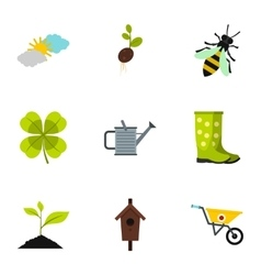 Garden icons set flat style vector