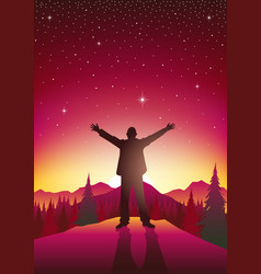man figure with open arms on top of hills vector image