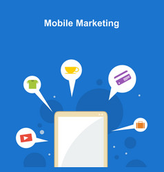 mobile marketing on blue background style vector image vector image