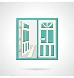 Open glass doors flat icon vector