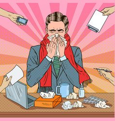 pop art businessman sneezing at office work vector image