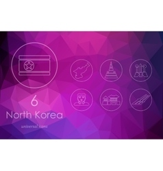Set of North Korea icons vector image vector image