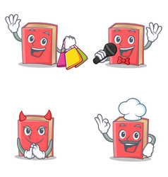 Set of red book character with shopping karaoke vector