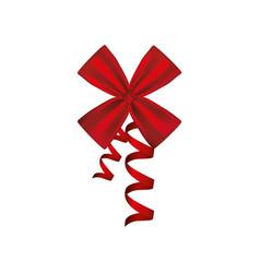 Silk shiny ribbon with holding bow vector