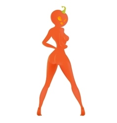 The girl with the pumpkin head on halloween white vector