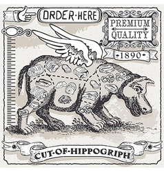 Vintage Page of Cut of Hippogriph vector image vector image