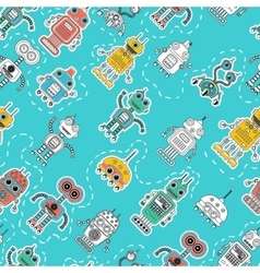 Vintage Tin Toy Robot Seamless Pattern vector image