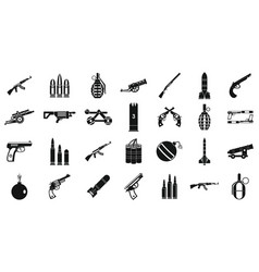 weapons ammunition icon set simple style vector image