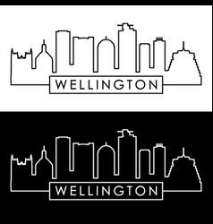 Wellington skyline linear style editable file vector