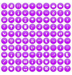 100 garden stuff icons set purple vector