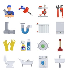 Plumbing Service Flat Icons Set vector image
