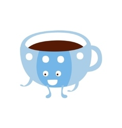 Blue cup with hot drink children birthday party vector