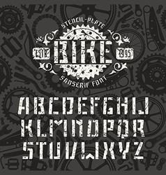 Stencil plate sanserif font in sport style vector
