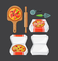 Italian cook pizza icons vector