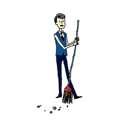 Side view of man holding broom vector