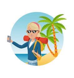 young blonde girl with backpack smartphone vector image