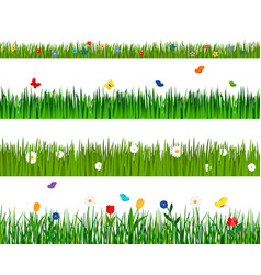 Grass and flowers horizontal seamless pattern vector