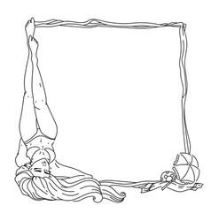 Summer girl frame vector