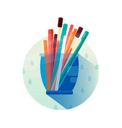 Glass with pencils in flat style icon vector