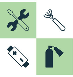 Apparatus icons set collection of screwdriver vector