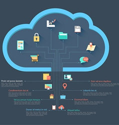 Cloud template with icons vector image