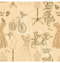 Vintage seamless pattern - fashion and sewing vector