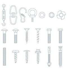 Set bolts and nuts vector image