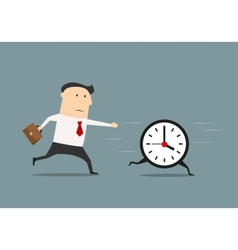 Businessman chasing a running clock vector