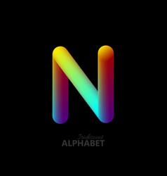3d iridescent gradient letter n vector