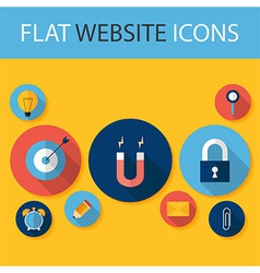 Set of five flat circle website icons vector