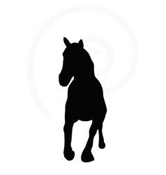 Horse silhouette in fast trot pose vector