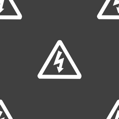 Voltage icon sign seamless pattern on a gray vector