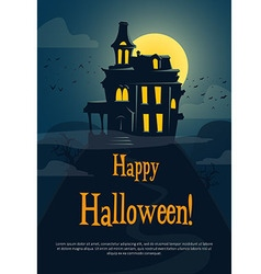 Halloween background with spooky castle vector
