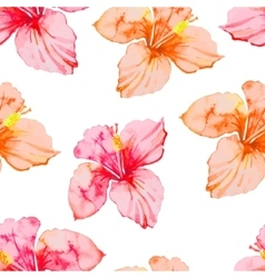 Hibiscus tropical plants seamless pattern exotic vector