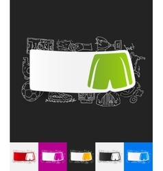 Shorts paper sticker with hand drawn elements vector