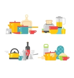 Home kitchenware devices in color flat vector