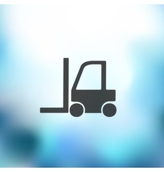 Forklift icon on blurred background vector