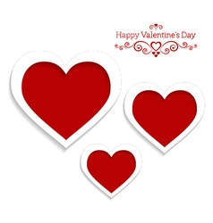 abstract card for Valentines Day with three hearts vector image vector image
