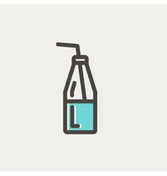 Bottle of milk with straw thin line icon vector image