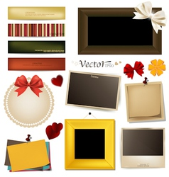 Collection of vintage paper and photo frames vector image vector image