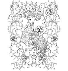 Coloring page with Bird in flowers zentangle vector image vector image