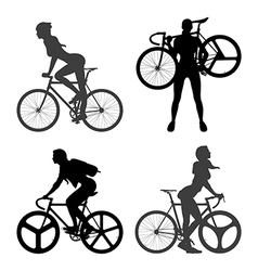 Cyclists woman and fixed gear bicycle vector