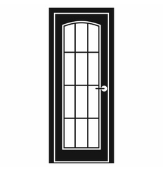 Door with glass icon simple style vector