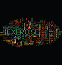 Exercise and stress text background word cloud vector